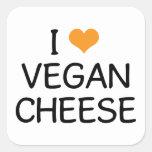 Amo el queso del vegano pegatinas cuadradas personalizadas
