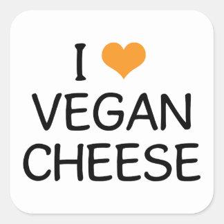 Amo el queso del vegano pegatina cuadrada