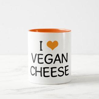 Amo el queso del vegano taza de dos tonos