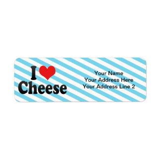 Amo el queso etiqueta de remite