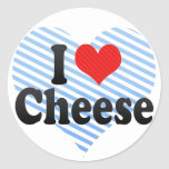 Amo el queso etiqueta redonda