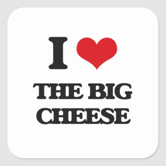 Amo el queso grande pegatina cuadrada
