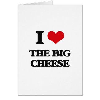 Amo el queso grande tarjeta de felicitación