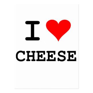 Amo el queso (las letras negras) postal