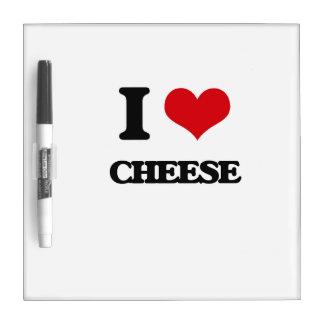 Amo el queso pizarras blancas