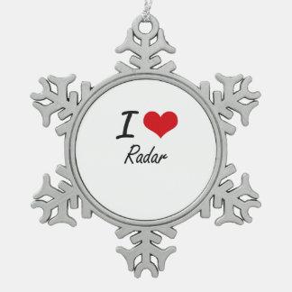 Amo el radar adorno de peltre en forma de copo de nieve