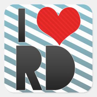 Amo el RD Pegatinas Cuadradases Personalizadas