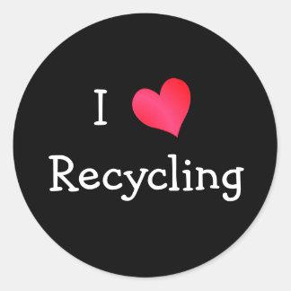 Amo el reciclar etiqueta redonda