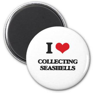 Amo el recoger de Seashells Imán Redondo 5 Cm