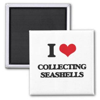 Amo el recoger de Seashells Imán Cuadrado