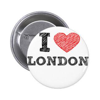 Amo el recuerdo del bosquejo de Londres Pin Redondo 5 Cm