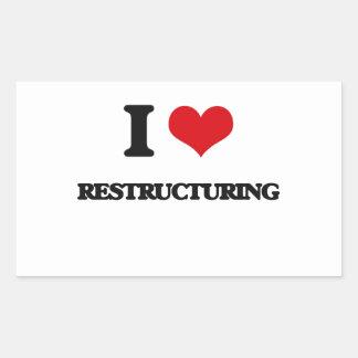 Amo el reestructurar pegatina rectangular