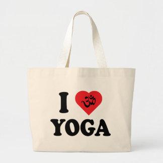Amo el regalo de la yoga bolsa tela grande