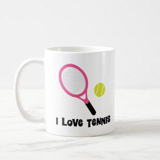 Amo el regalo de los deportes del tenis taza
