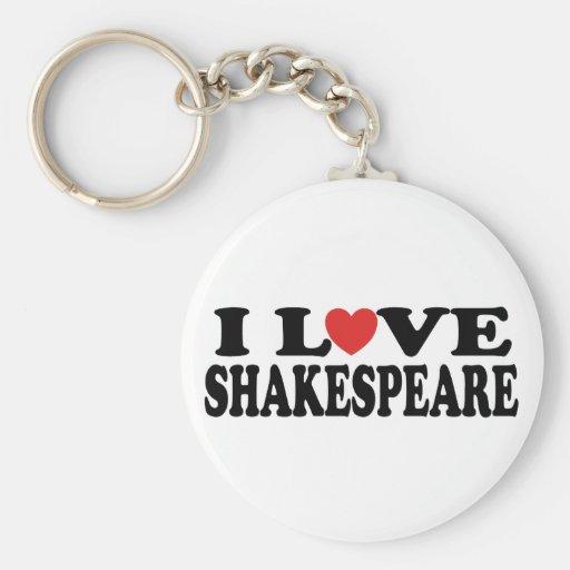 Amo el regalo de Shakespeare Llavero Redondo Tipo Pin
