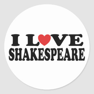 Amo el regalo de Shakespeare Pegatinas Redondas