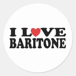Amo el regalo del barítono del corazón pegatina redonda