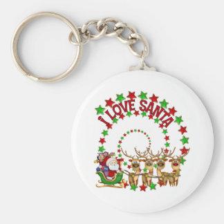 Amo el regalo del navidad de los niños de Santa Llavero Redondo Tipo Pin