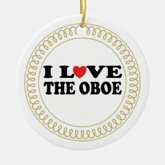 Amo el regalo del ornamento del navidad de la adorno redondo de cerámica