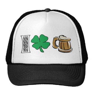 Amo el regalo verde de la cerveza gorros bordados