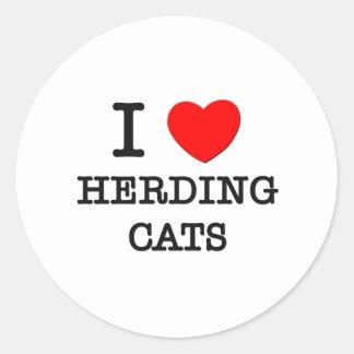 Amo el reunir de gatos pegatinas redondas