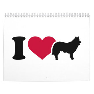 Amo el reunir del pastor del perro calendario de pared