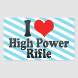 Amo el rifle del poder más elevado pegatina rectangular