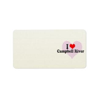 Amo el río de Campbell, Canadá Etiqueta De Dirección