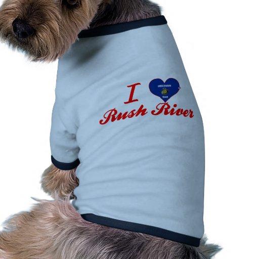 Amo el río de la precipitación, Wisconsin Camisetas De Mascota