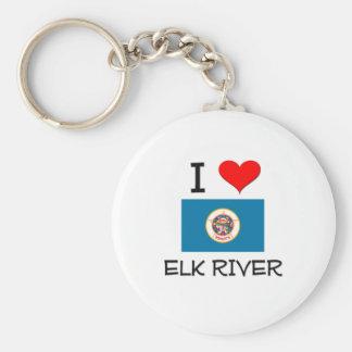 Amo el río Minnesota de los alces Llavero Redondo Tipo Pin