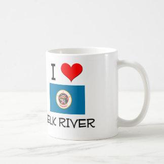 Amo el río Minnesota de los alces Taza Básica Blanca