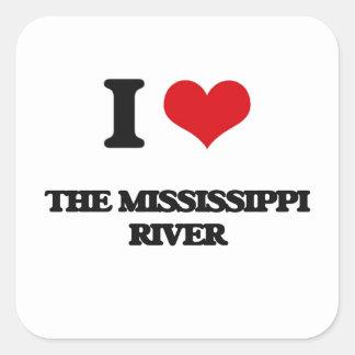 Amo el río Misisipi Pegatina Cuadrada