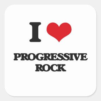 Amo el ROCK PROGRESIVO Calcomania Cuadradas