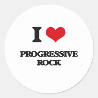 Amo el ROCK PROGRESIVO Pegatina Redonda