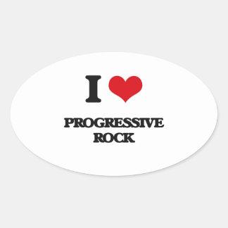 Amo el ROCK PROGRESIVO Calcomanías De Óvales