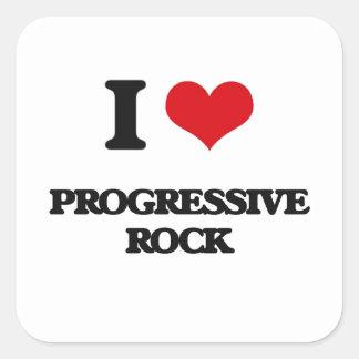 Amo el ROCK PROGRESIVO Calcomanías Cuadradases