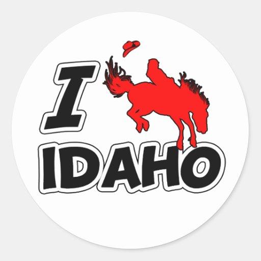 Amo el rodeo Idaho Pegatina Redonda