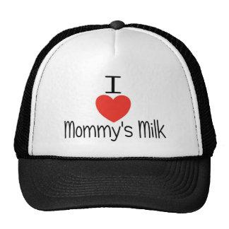 Amo el rojo de la leche de la mamá gorros