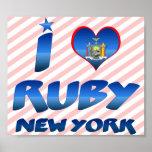 Amo el rubí, Nueva York Poster