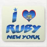 Amo el rubí, Nueva York Tapetes De Ratones
