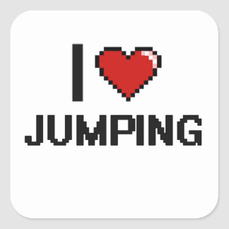 Amo el saltar del diseño retro de Digitaces Pegatina Cuadrada