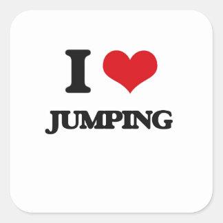 Amo el saltar pegatina cuadrada