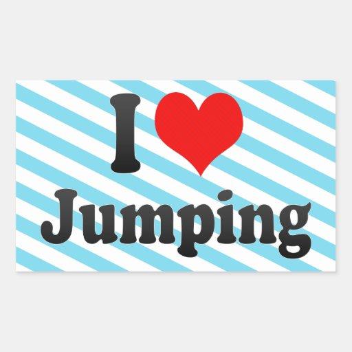 Amo el saltar rectangular pegatina