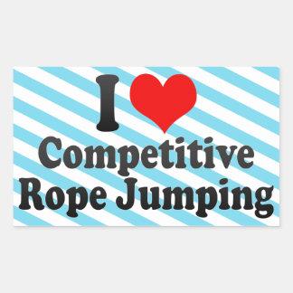 Amo el salto competitivo de la cuerda rectangular pegatina