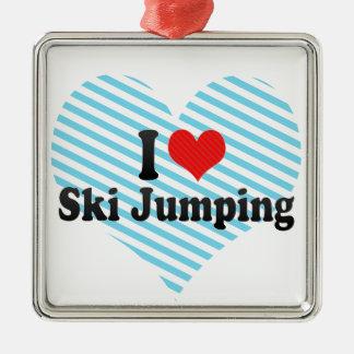 Amo el salto de esquí adorno cuadrado plateado