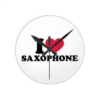 Amo el saxofón reloj de pared