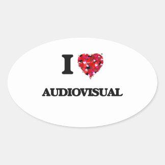 Amo el sector audiovisual pegatina ovalada