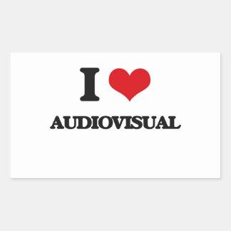 Amo el sector audiovisual pegatina rectangular