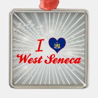Amo el Seneca del oeste, Nueva York Adorno Navideño Cuadrado De Metal