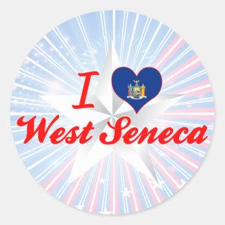 Amo el Seneca del oeste, Nueva York Pegatina Redonda